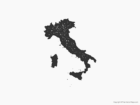Free Vector Map of Italy - Stamp