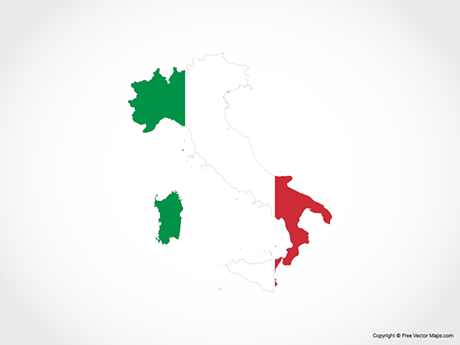 Free Vector Map of Italy - Flag