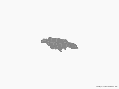 Free Vector Map of Jamaica with Parishes - Single Color