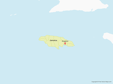 Free Vector Map of Jamaica with Parishes
