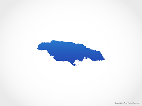 Free Vector Map of Jamaica - Blue