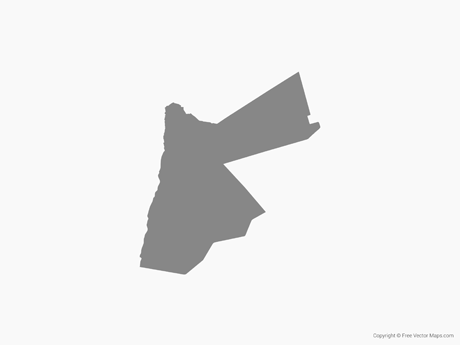 Free Vector Map of Jordan - Single Color