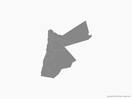 Free Vector Map of Jordan with Governorates - Single Color