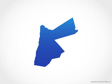 Free Vector Map of Jordan - Blue
