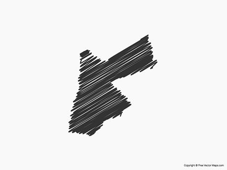 Free Vector Map of Jordan - Sketch