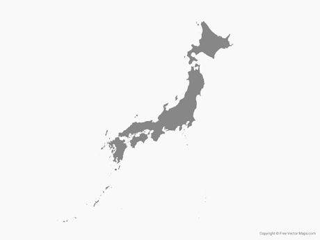 Vector Map of Japan Single Color Free Vector Maps