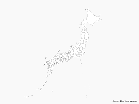 Free Vector Map of Japan with Prefectures - Outline