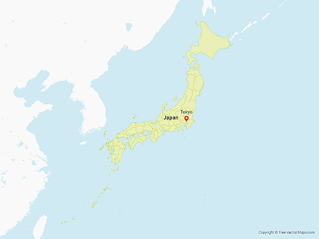 Free Vector Map of Japan with Prefectures