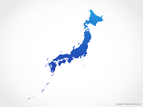 Free Vector Map of Japan - Blue
