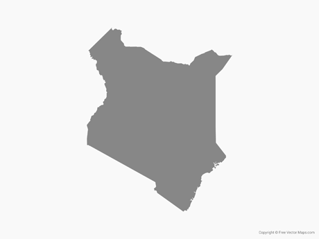 Free Vector Map of Kenya - Single Color