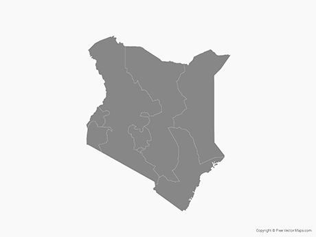 Free Vector Map of Kenya with Provinces - Single Color