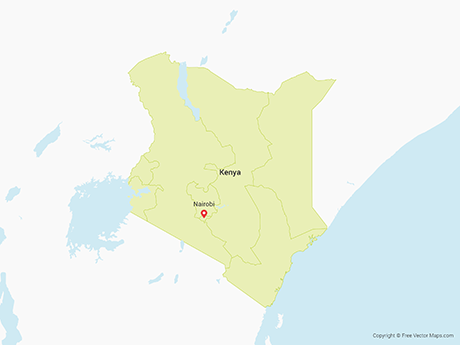 Free Vector Map of Kenya with Provinces