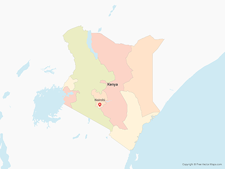 Free Vector Map of Kenya with Provinces - Multicolor