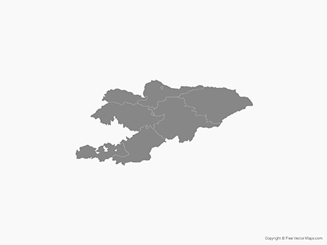 Free Vector Map of Kyrgyzstan with Regions - Single Color