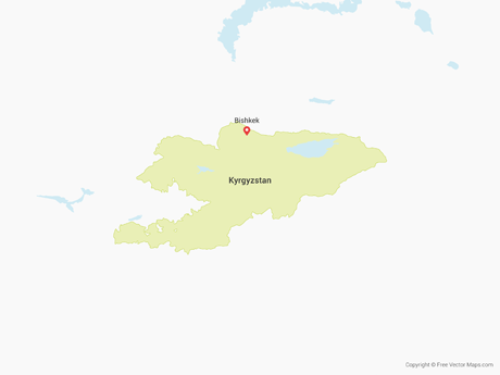 Free Vector Map of Kyrgyzstan