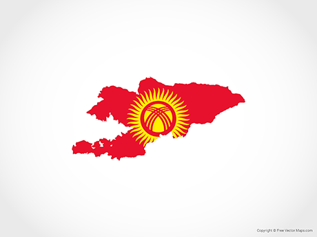 Free Vector Map of Kyrgyzstan - Flag