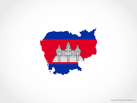 Free Vector Map of Cambodia - Flag