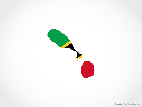 Free Vector Map of Saint Kitts and Nevis - Flag