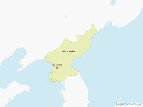 Free Vector Map of North Korea