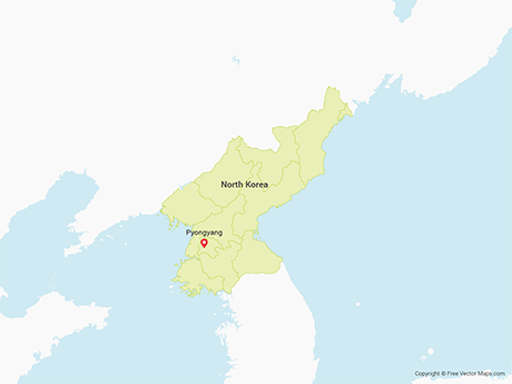 Free Vector Map of North Korea with Provinces