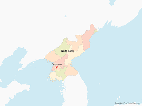 Free Vector Map of North Korea with Provinces - Multicolor