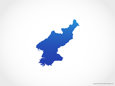 Free Vector Map of North Korea - Blue