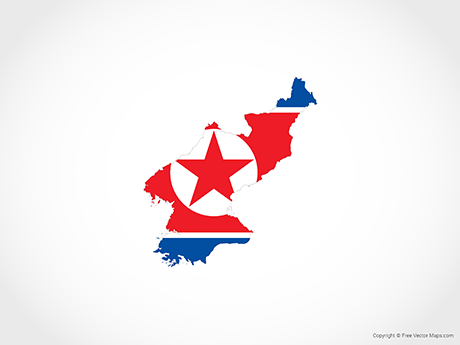 Free Vector Map of North Korea - Flag