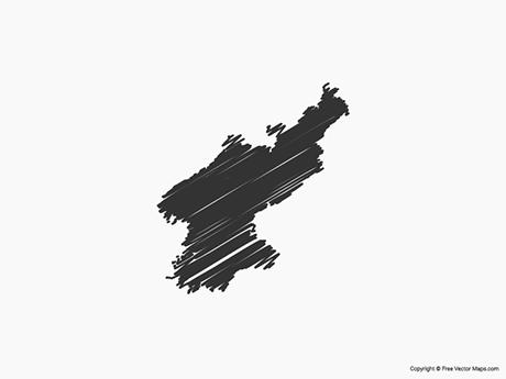 Free Vector Map of North Korea - Sketch
