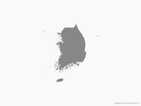 Free Vector Map of South Korea - Single Color