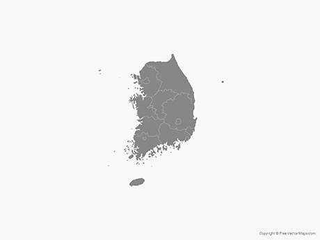Free Vector Map of South Korea with Provinces -Single Color