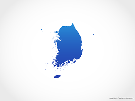 Free Vector Map of South Korea - Blue