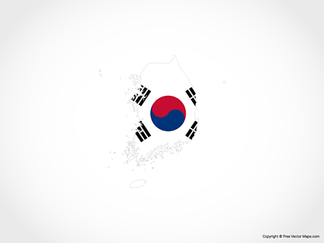 Free Vector Map of South Korea - Flag