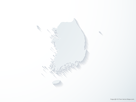 Free Vector Map of South Korea - 3D