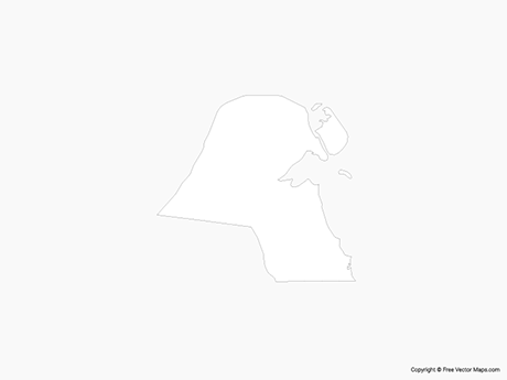 Free Vector Map of Kuwait - Outline