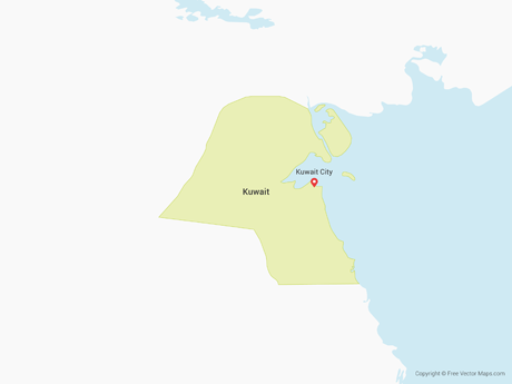 Free Vector Map of Kuwait