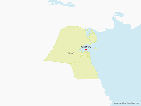 Free Vector Map of Kuwait with Governorates