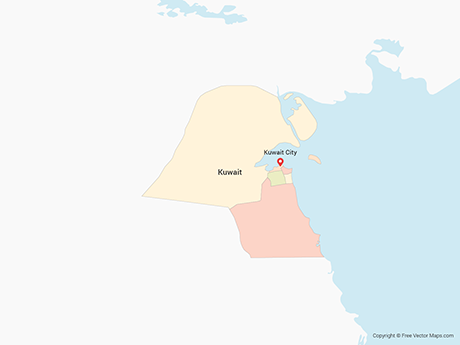 Free Vector Map of Kuwait with Governorates - Multicolor
