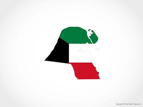 Free Vector Map of Kuwait - Flag
