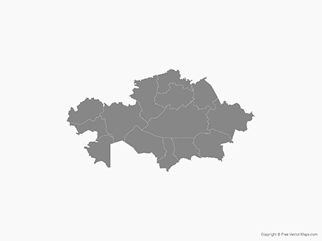 Free Vector Map of Kazakhstan with Regions - Single Color