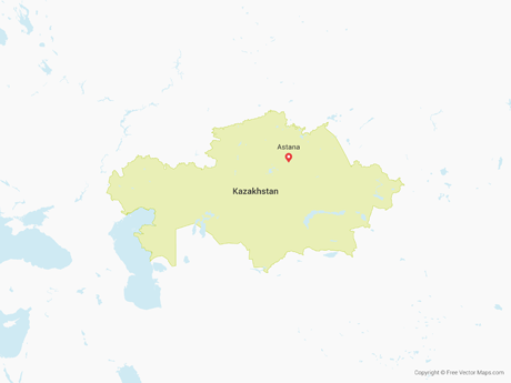 Free Vector Map of Kazakhstan