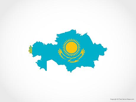 Free Vector Map of Kazakhstan - Flag