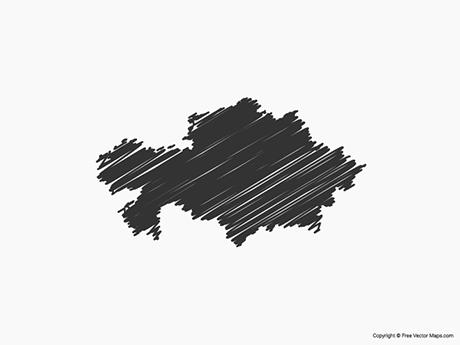 Free Vector Map of Kazakhstan - Sketch