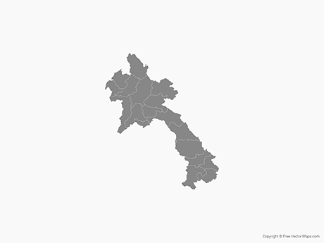 Free Vector Map of Laos with Provinces - Single Color
