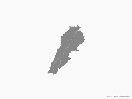 Free Vector Map of Lebanon with Districts - Single Color