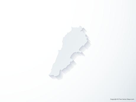 Free Vector Map of Lebanon - 3D