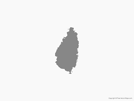 Free Vector Map of Saint Lucia - Single Color