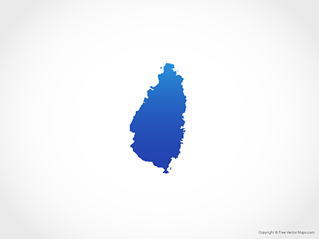 Free Vector Map of Saint Lucia - Blue