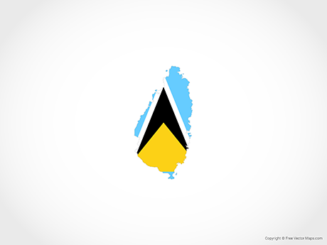 Free Vector Map of Saint Lucia - Flag