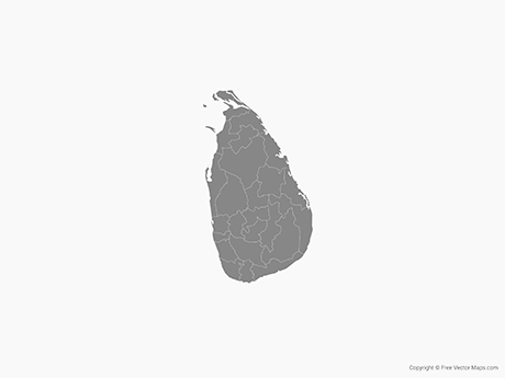 Free Vector Map of Sri Lanka with Districts - Single Color
