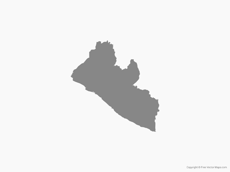 Free Vector Map of Liberia - Single Color